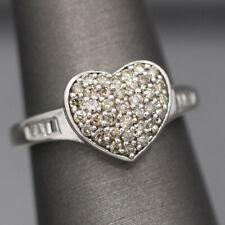Pave' Champagne Diamond 0.51ctw Heart Ring in 14k White Gold