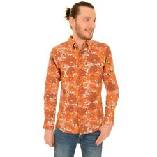 Run and Fly 60s Style Orange Floral Print Shirt Groovy Retro Vintage