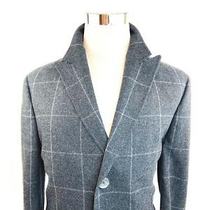 Famous Label Wool Blend Gray Windowpane Slim Overcoat Top Coat Mens M/L NWT