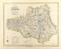 Antique Map of Durham towns, gentleman houses election poll reform bill c1833