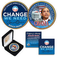 BARACK OBAMA 24K Gold Plated 2-Sided JFK Half Dollar with Box ** SPECIAL PRICE