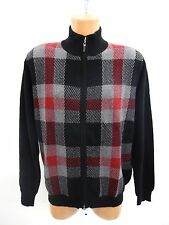 Forte Mens Cashmere Full Front Zipper Plaid Sweater Jacket Grenadine Size L