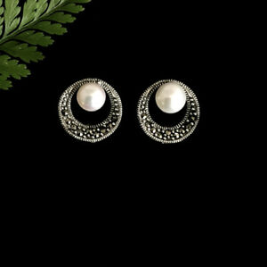 Classic Vintage Inspired Sterling Silver Marcasite Freshwater Pearl Earrings