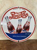 VINTAGE ''PEPSI = COLA'' GAS PORCELAIN DEALER ADVERTISING SIGN 12 INCH,