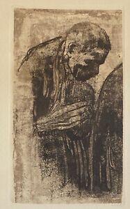 "Kathe Kollwitz  Original Etching - ""The Mourner""  1919"