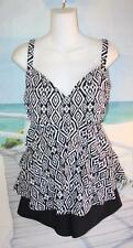 20 ROCK THE RUFFLES FUN TRIBAL PRINT TANKINI TOP & SWIM SHORTS BATHING SUIT 20W