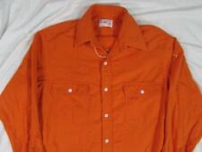 Vtg 70s Penney's Big Mac 100% Cotton Flannel Orange Work Shirt Sz Medium 60s