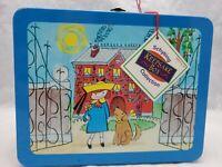 Vintage Madeline Cartoon TV Show Metal Tin Keepsake Lunch Box w/ Tag Blue Handle