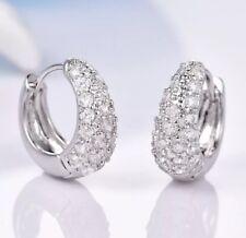 Mens Gents 18k 18ct White Gold Sim Diamonds Hoop Earrings 17mm
