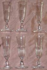 6 flûtes à champagne XIXème en cristal épais taillé & pied balustre