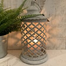 More details for shabby white metal lantern french chic country moroccan garden candle rustic