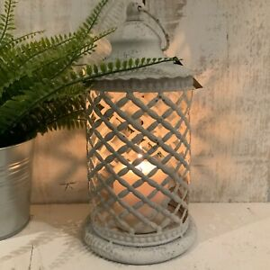 Shabby White Metal Lantern French Chic Country Moroccan Garden Candle Rustic