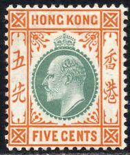 Hong Kong 1904 Sg 79 5c dull green & brown-orange Mounted Mint