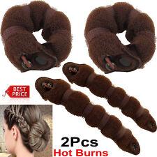 2 Pcs Women Hair Bun Donut Shaper Ring Styler Former Style Doughnut Tie Updo DIY