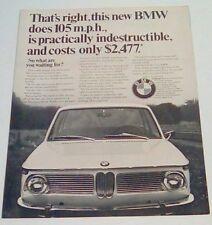 BMW car 1967 VINTAGE magazine print ad