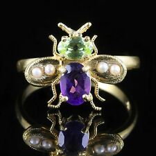 SUFFRAGETTE BEE RING PERIDOT AMETHYST PEARL 18CT GOLD  SILVER SUFFRAGETTE STYLE