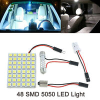 1x T10 501 BA9S Dome Adapter Panel 48 SMD 5050 LED White Car Interior Light Bulb