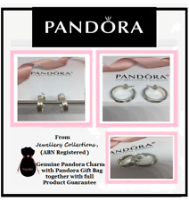 NEW Genuine PANDORA Silver Hoop Earrings Stream Liquid 290712 Retired