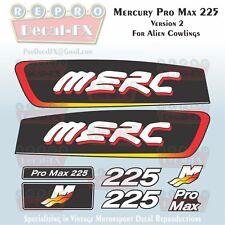 "Mercury Pro Max 225 HP V2 Reproduction Decals ""Alien"" Cowl 8Pc Marine Vinyl Set"