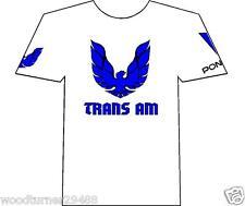 Pontiac Trans AM Muscle car Auto T-shirt White 100% Cotton  Blue Logo