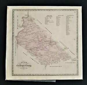 antique MAP plan of EAST LAMPETER TOWNSHIP w Property Owners names from atlas