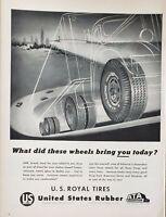 Lot of 3 Vintage 1956 United States Rubber Print Ads U.S. Royal Tires
