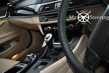 FOR ALFA ROMEO 147 00+ PERFORATED LEATHER STEERING WHEEL COVER GREEN DOUBLE STCH
