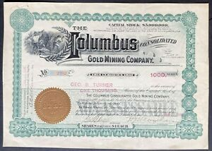 COLUMBUS CONSOLIDATED GOLD MINING Stock 1904 Lead City, SD. Deadwood Black Hills