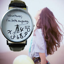 Fashion Women Watch Leather Band Whatever I am Late Anyway Letter Wristwatch