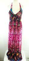 Ellie Louis Pink Mix Psychedelic Print Tie Halterneck Floaty Maxi Dress UK 16