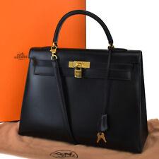 AUTHENTIC HERMES KELLY 35 2WAY HAND BAG BOX CALF LEATHER BLACK CADENA 224E002