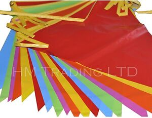 Bunting Flags Multi Colour PVC Banner Party Outdoor Garden Small / Large 33 Feet