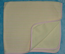 First Impressions Stretchy Knit Baby Blanket Yellow w/ Pink Stripes Trim Swaddle