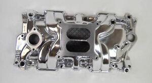 SB Chevy Aluminum Intake Manifold Square Bore SBC 55-86 305 327 350 V8  Polished