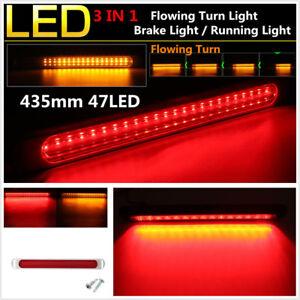 "17"" Dual Color 47 LED Flowing Turn Light Car Brake Light Bar Tail Warning Light"