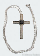 """Ladies Silver Pectoral Cross, 30"""" Chain, (SUBS788 S-Black), Pastor, Minister"""