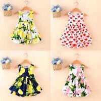 Toddler Kids Girls Lemon Cartoon Print Bowknot Casual Princess Dress Clothes