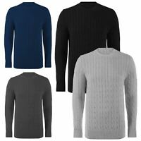 New Mens Long Sleeve Cable Heavy Knitted Jumper Sweater Crew Neck Warm Winter