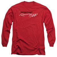 Pontiac RED PONTIAC RACING Licensed Adult Long Sleeve T-Shirt S-3XL