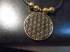 Brass Flower of Life Pendant Reki Sacred Geometry choker necklace  gold beads.