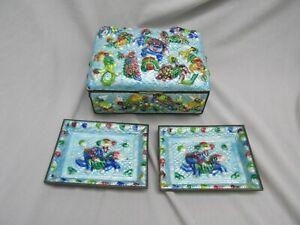 Antique Chinese Peking Enamel Cigarette Box & Ashtrays Foo Dog Design