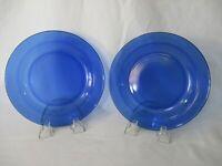 "Two Vintage Arcoroc Saphir Cobalt Blue 7 3/8"" Lunch Salad Plates Made in France"
