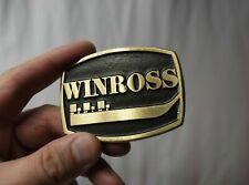 vintage WINROSS BELT BUCKLE, SOLID BRASS trucks/cars/toys 80s DynaBuckle