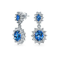 Crown Halo Blue Oval Dangle Earrings CZ  Simulated Sapphire Silver Plated
