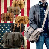 "Men's Tactical Military Canvas Leather Satchel 17"" Laptop Shoulder Messenger Bag"