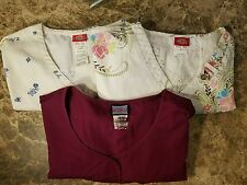 Lot of 3 Women's 2 Dickies 1 Cherokee Medical Scrub Tops Size Large