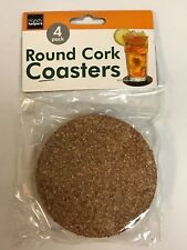 """4-Pack 3.5"""" (3 1/2)  Round Circle Flexible Cork Drink Glass Water Coasters"""