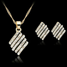 Women Crystal Gold Plated Diamond Pendant Necklace Earrings Wedding Jewelry Set