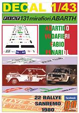 "DECAL 1/43 FIAT 131 ABARTH ""ICARUS"" A.VUDAFIERI R.SANREMO 1980 DnF (04)"