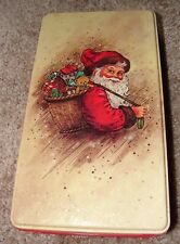 Potpourri Press Santa Rectangular Tin Box Christmas holiday theme Red & Tan 1986